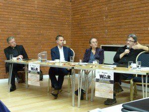 Panel with Fergal Keane speaking