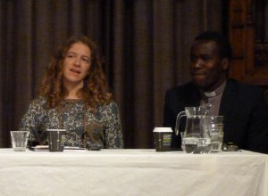Celia McKeon responding (to a question) alongside Revd. Denis Adide